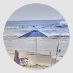 HDR Classic Beach Shot Fisbing Umbrella Sand Waves Sticker