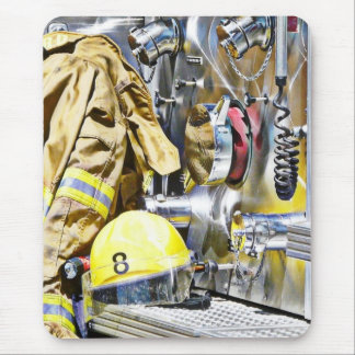 HDR Fireman Gear and Fire Truck Mouse Pad