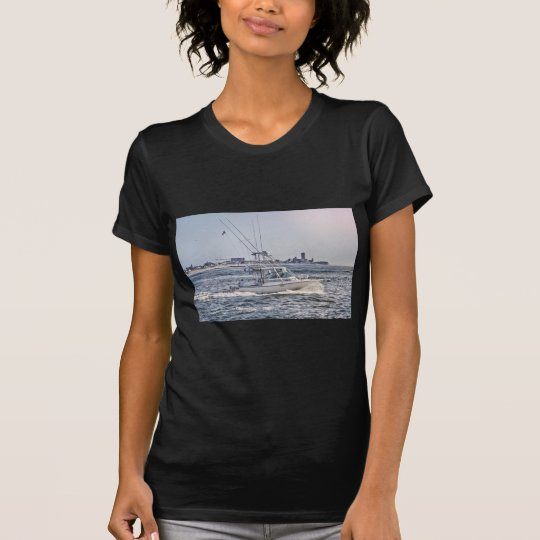 HDR Fishing Boat Beach Town Background T-Shirt