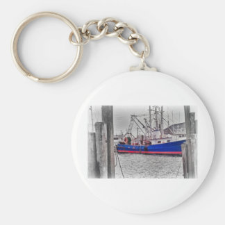 HDR Fishing Boat Black White Color Effect Harbor Keychain
