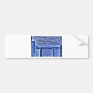 HDR Fishing Boat Distance Two Poles Car Bumper Sticker