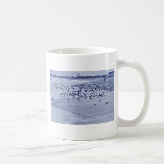 HDR Group of Seagulls Checking Out the Beach Ocean Coffee Mug