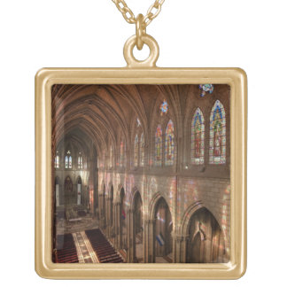 HDR image of Basilica interior, Quito, Ecuador Square Pendant Necklace