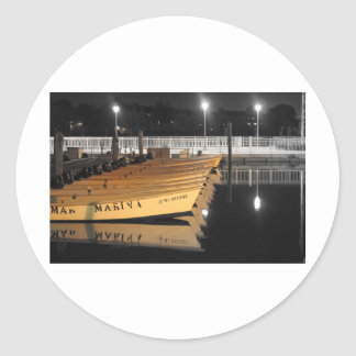 HDR Motor Boats Black White Background Round Stickers