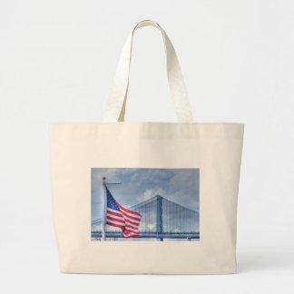 HDR Patriotic American Flag Bridge Photo Picture Tote Bags