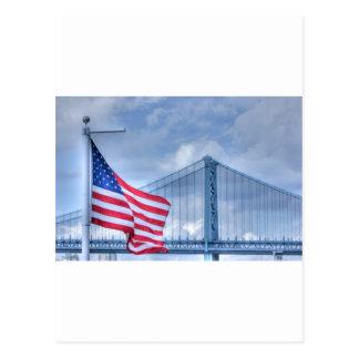 HDR Patriotic American Flag Bridge Photo Picture Postcard