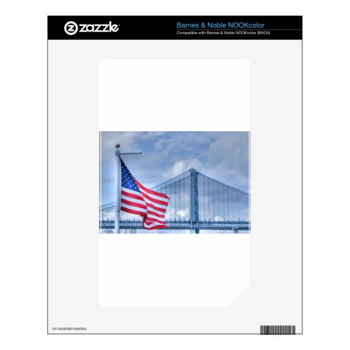 HDR Patriotic American Flag Bridge Photo Picture Skin For NOOK Color
