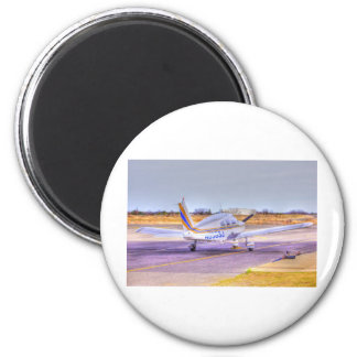 HDR Plane TailBack Yellow Blue Stripe Parked 2 Inch Round Magnet