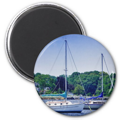 HDR Sail Boat Boats Bay Harbor Scenic Seaview Sea 2 Inch Round Magnet