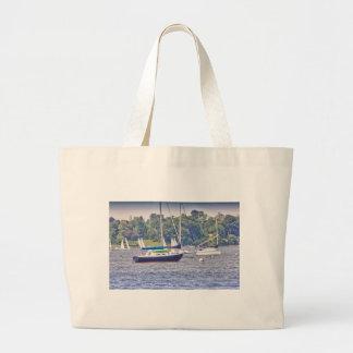 HDR Sailboat Bay Harbor Sea Seascape Ocean Scenic Tote Bag