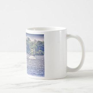 HDR Sailboat Bay Harbor Sea Seascape Ocean Scenic Classic White Coffee Mug