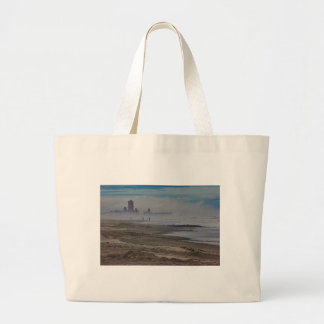 HDR Scenic Beach Ocean View Building in Background Tote Bag