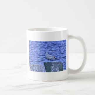 HDR Seagull on Rock Pylon Coffee Mugs