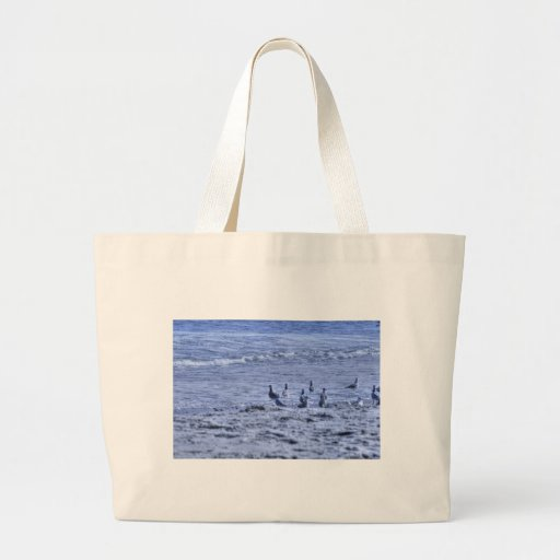 HDR Seagulls Together Beach Watching Ocean Canvas Bags