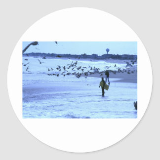 HDR Surfer Lady Feeding Seagulls Stickers
