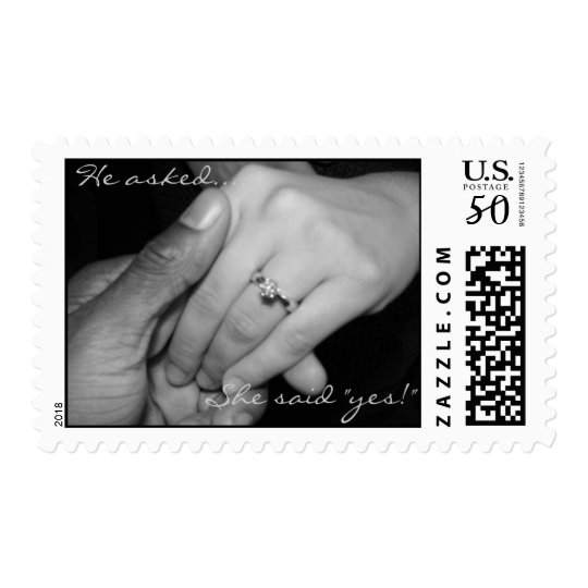 """He asked... She said """"yes!""""- Customized Postage"""