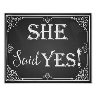 He asked she said yes engagement photo prop sign