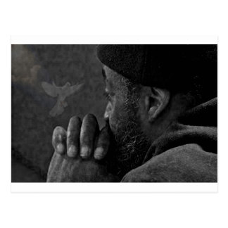 He Believes And So He Prays. A Man Lost In Prayer. Postcard
