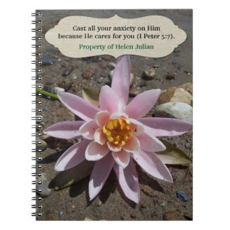 He Cares for You Flower Scripture Personalized Notebook