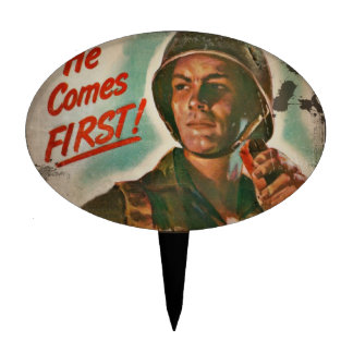He Comes First WWII Food Rationing Cake Pick