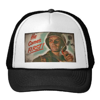 He Comes First WWII Food Rationing Trucker Hats