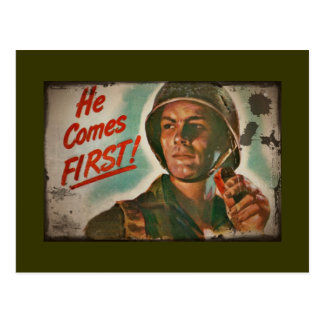 He Comes First WWII Food Rationing Post Cards