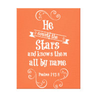 He counts the stars and knows by name bible verse stretched canvas prints