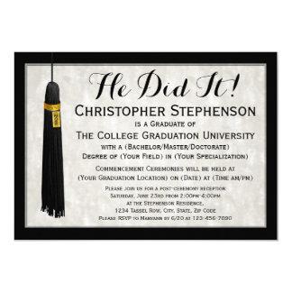 He Did It Tassel College Graduation 5x7 Paper Invitation Card