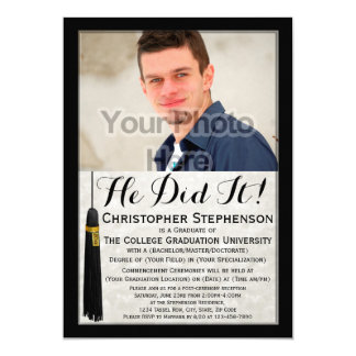 He Did It Tassel Custom Photo College Graduation Card