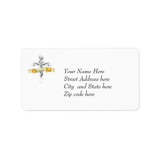 He Died for Us Floral Cross Label