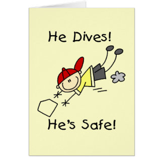 He Dives He s Safe Tshirts and Gifts Greeting Card