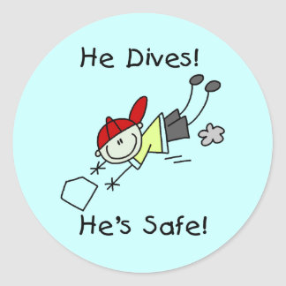 He Dives He's Safe Tshirts and Gifts Round Stickers