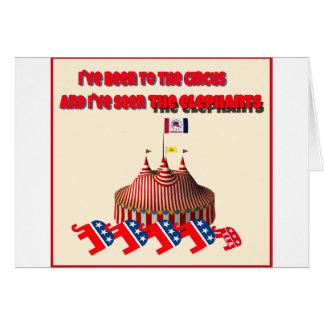 He estado al circo y he visto el elefante tarjeta de felicitación
