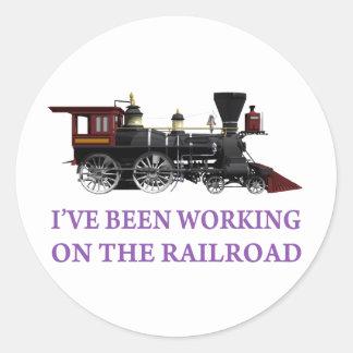 He estado trabajando en el ferrocarril pegatina redonda