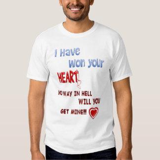 He ganado su camiseta del corazón playeras