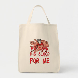 He Gave His Blood Christian Tote Bag