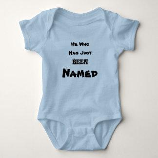 He has just been named. baby bodysuit