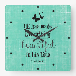 He has made everything beautiful bible verse square wall clock