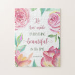 "He Has Made Everything Beautiful Ecclesiastes 3:11 Jigsaw Puzzle<br><div class=""desc"">Puzzle with bible verse from Ecclesiastes 3:11,  ""He has made everything beautiful in its time, "" surrounded by lovely watercolor flowers and leaves. Designed by Simply Scripture; artwork from The Hungry Jpeg.</div>"