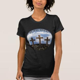 He Has Risen 3 Rugged Crosses + John 3:16 T-Shirt