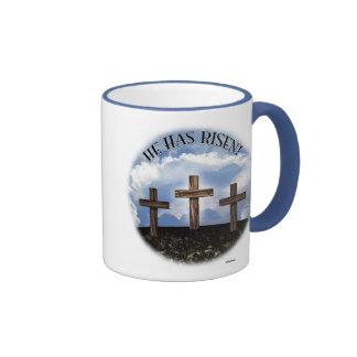 He Has Risen 3 Rugged Crosses Coffee Mugs