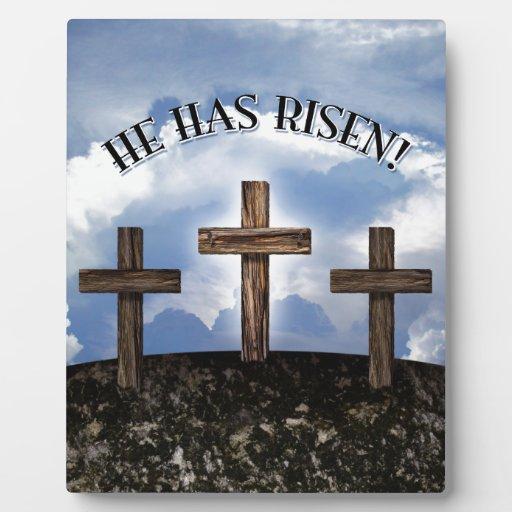 He Has Risen 3 Rugged Crosses Display Plaque