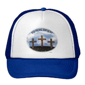 He Has Risen 3 Rugged Crosses Trucker Hat