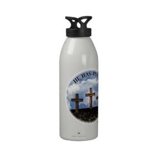 He Has Risen 3 Rugged Crosses Reusable Water Bottle