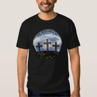 He Has Risen 3 Rugged Crosses with Lord's Prayer Tees