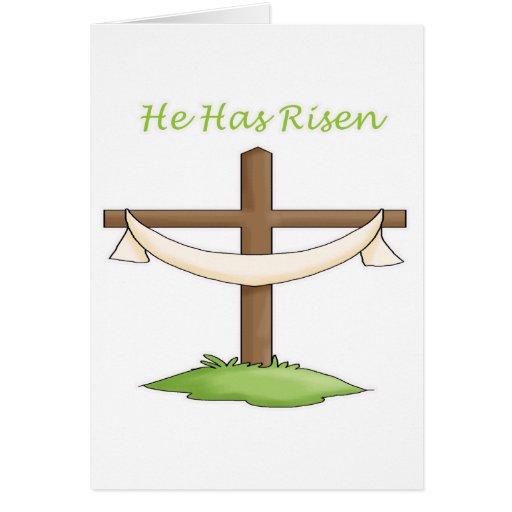 He Has Risen Cross Greeting Card