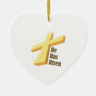He Has Risen Double-Sided Heart Ceramic Christmas Ornament