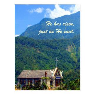 He has risen!! -Mountain Church Easter Theme Postcard
