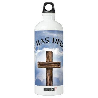 He Has Risen Rugged Cross Sky Aluminum Water Bottle