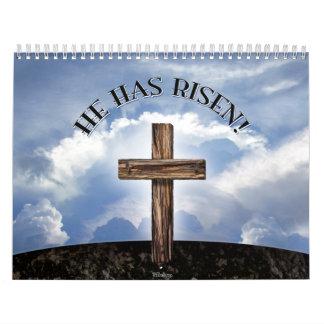 He Has Risen Rugged Cross Sky Calendar